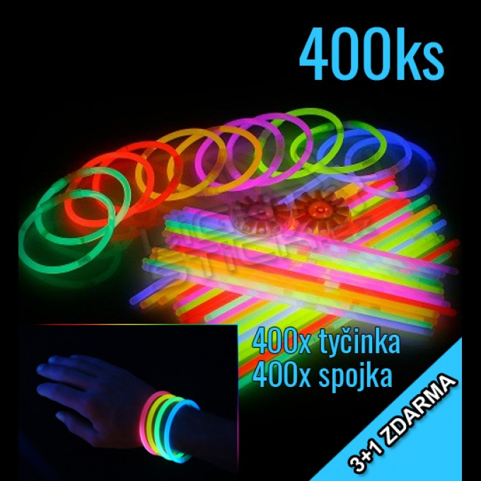 Svietiace náramky 3 + 1 zadarmo, 400ks, mix farieb.