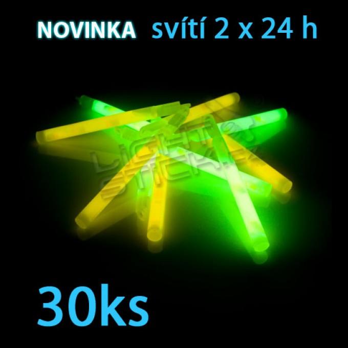 Svietiaca tyčinka POWDER (chemické svetlo) Lightstick 15 cm, 30ks / obal, 2 ampulky, 2 x 24 hodín,
