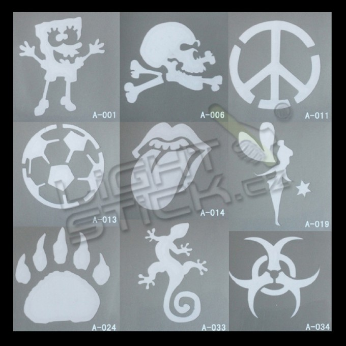 Šablóny na tetovanie 7,5x7,5, výber šablón