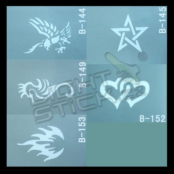 Šablóny na tetovanie 7,5x10, výber šablón