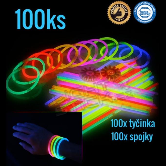 Svietiace náramky 100ks, výber farieb